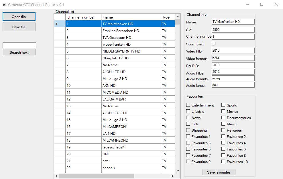 GTMEDIA GTC Editor de canales