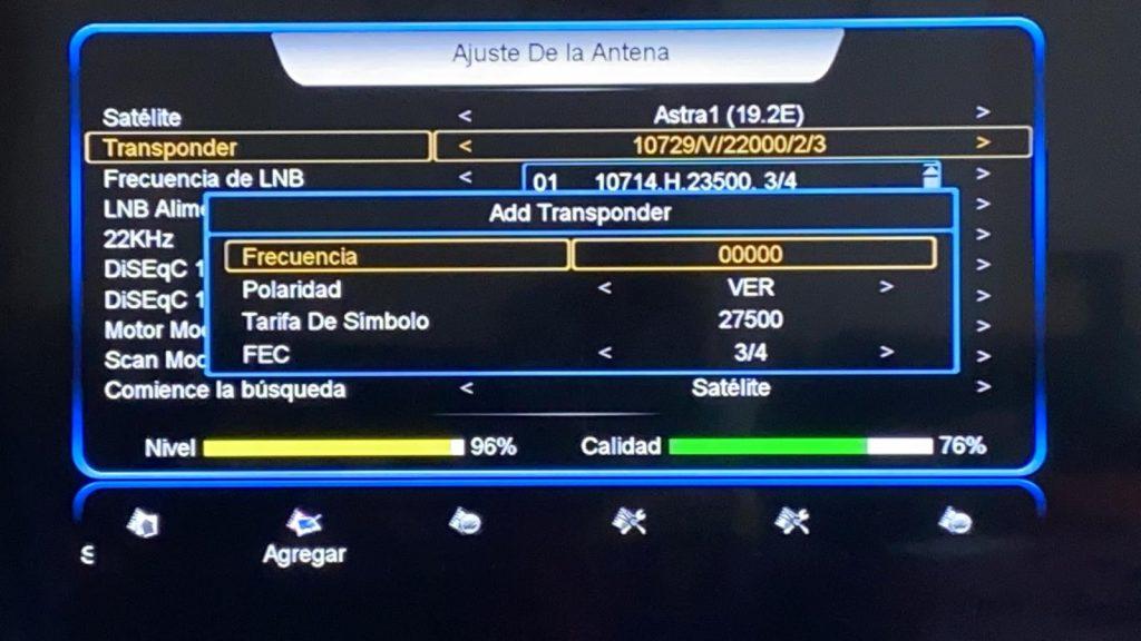 SATintegral S-1412 HD Añadir frecuencia manualmente TP